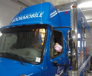 Cow drives the Rochester bookmobile
