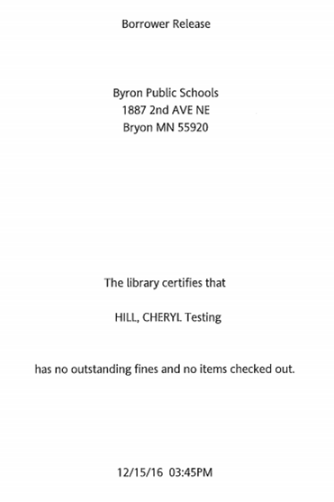 Borrower Release Document